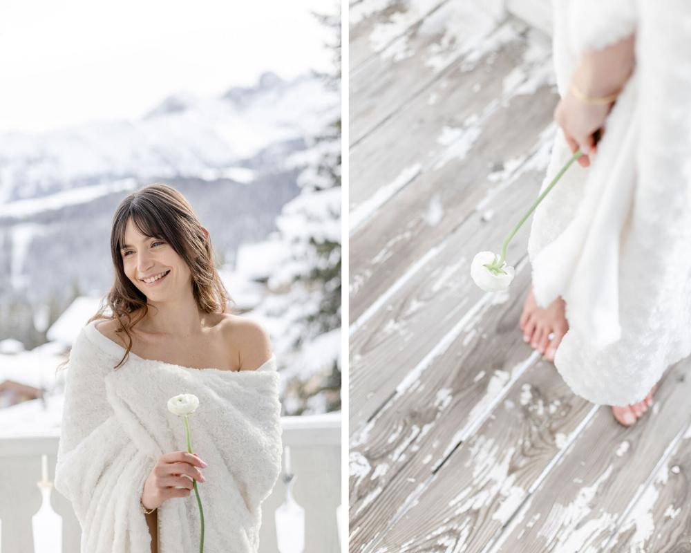 Mariage hiver dans les Alpes
